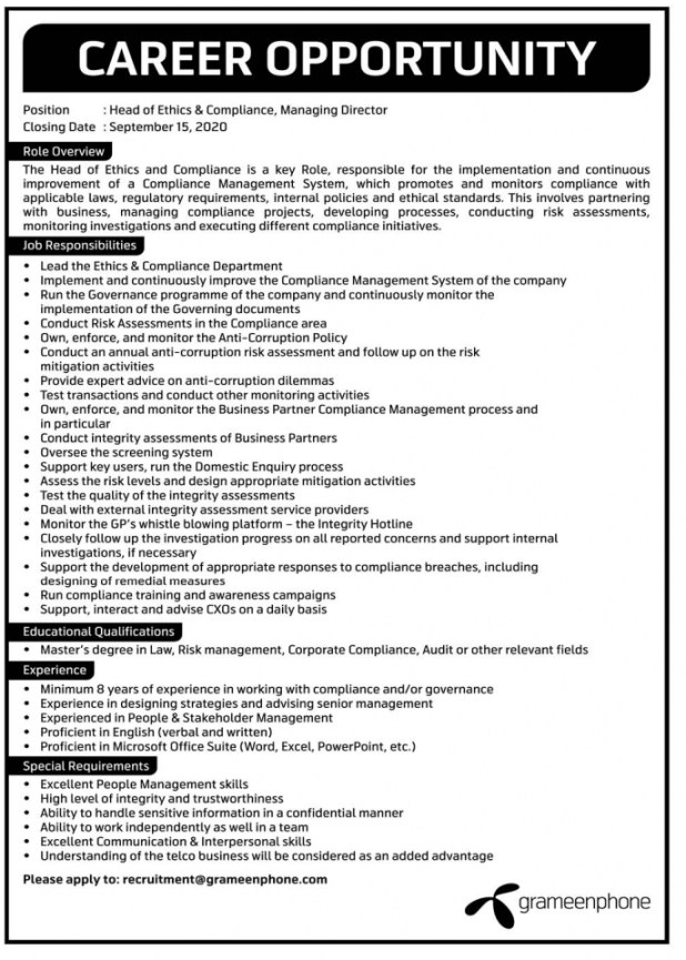 Grameenphone GP Job Circular 2020