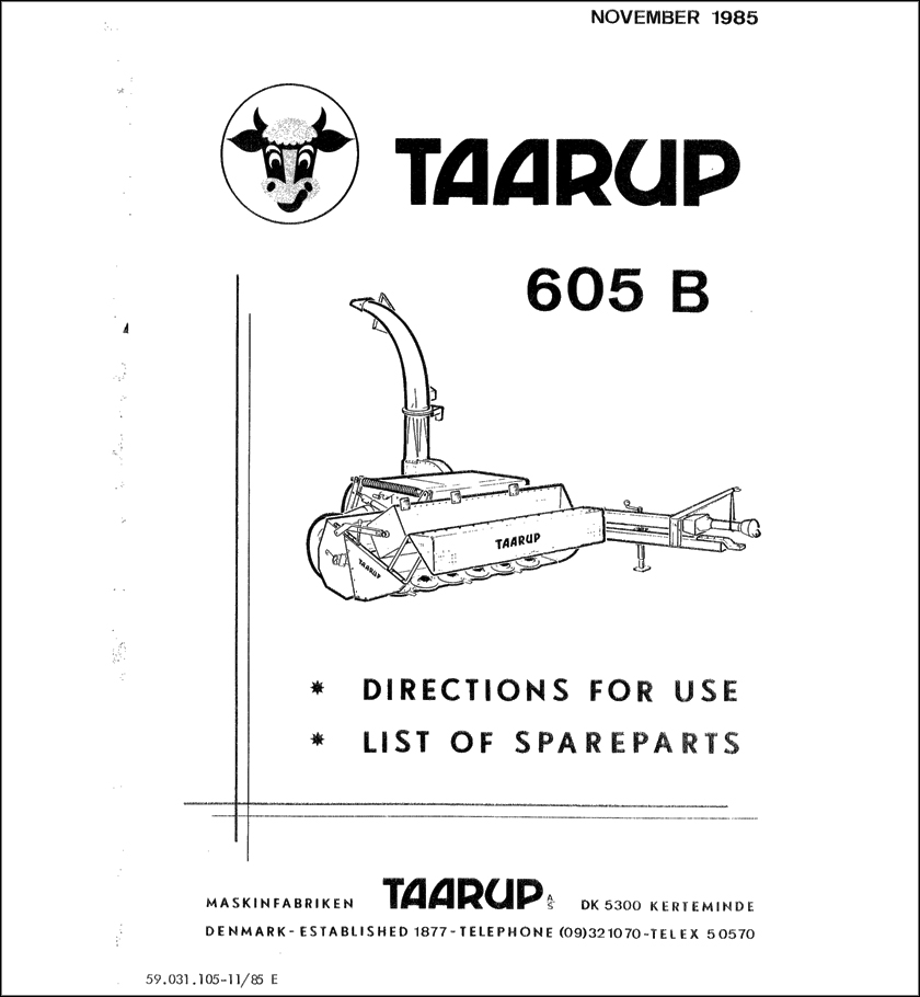 Taarup TA605B Spare Parts Manual for Forage harvester