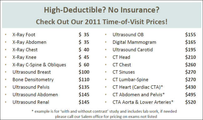 Salem Radiology Prices