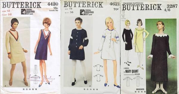 Выкройки Butterick с платьями Mary Quant