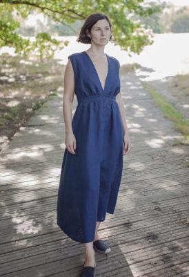 Выкройка макси-платья с глубоким вырезом