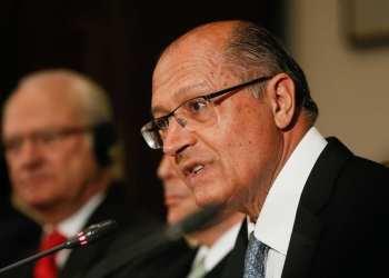 Geraldo Alckmin durante o encerramento do Conselho Empresarial Brasil-Suécia