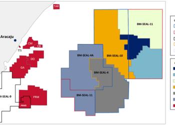 Concessões e prospectos operados pela Petrobras em águas profundas de Sergipe