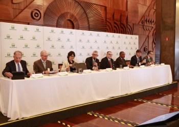 A diretoria da Petrobras durante entrevista coletiva. Foto: Andre Ribeiro / Agência Petrobras/Agência Petrobras