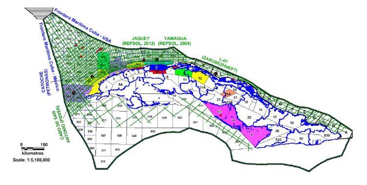Blocos delimitados em Cuba, nas bacias terrestres e na ZEE (Golfo do México) – CUPET