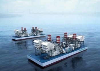Imagem digital dos modelos de usinas a gás flutuantes da Siemens / Foto: Divulgação Siemens