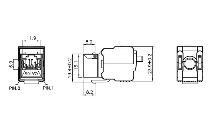 C6A FTP 180° TOOL FREE KEYSTONE JACK (KJ18F-XX-FS)