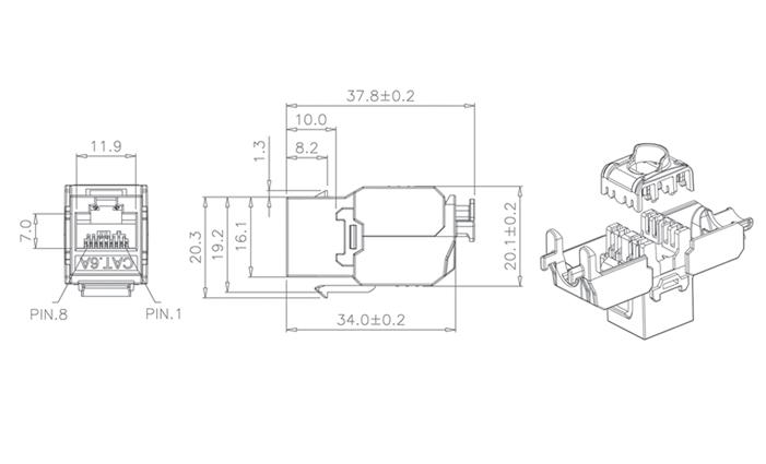 C6A UTP TOOL FREE KEYSTONE JACK (KJ28F-XX-US/XX)