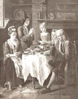 1730 family prayer with linen