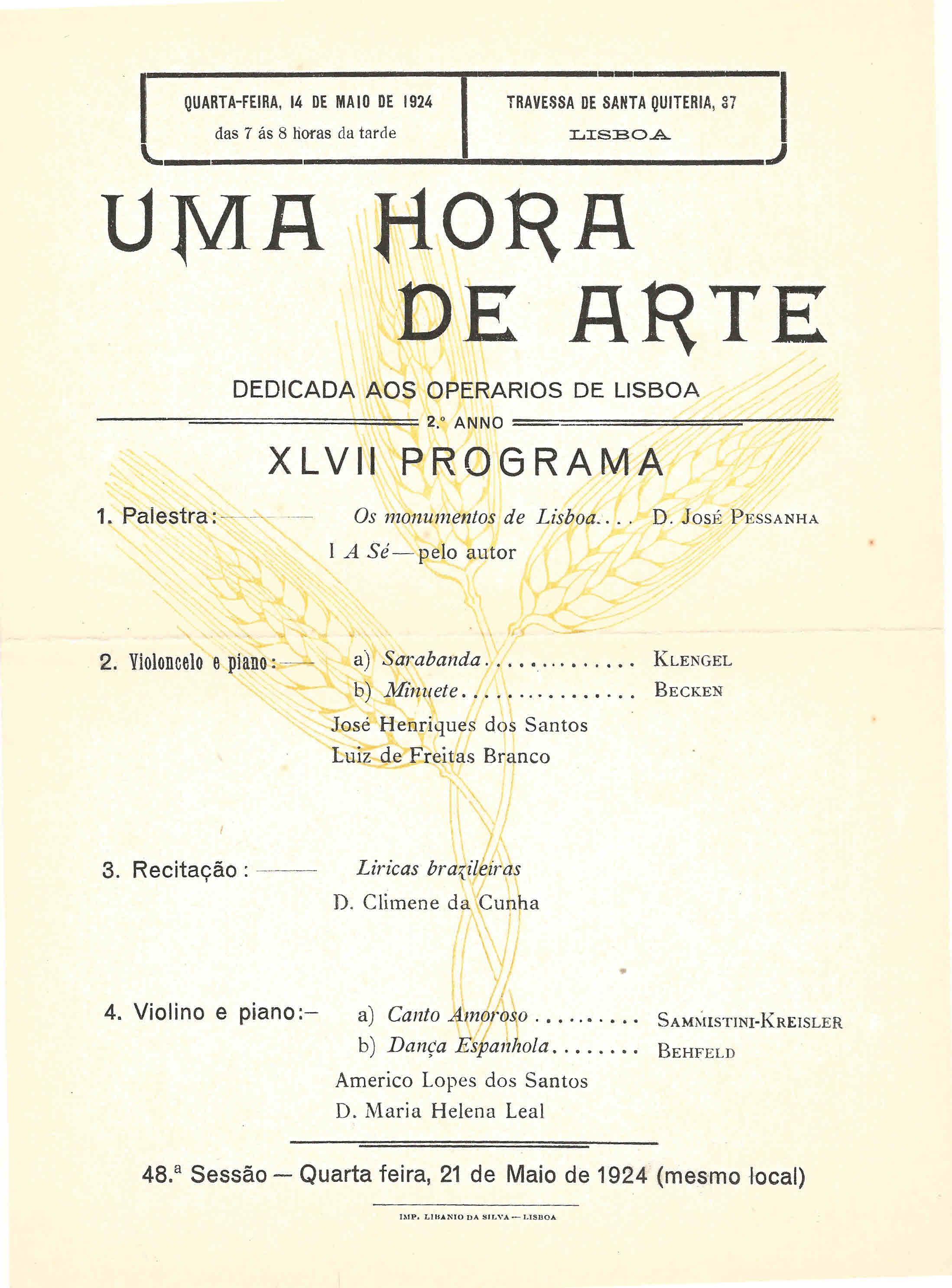 """c3ec480e85c OBRA SOCIAL """"HORA D ARTE"""" – UMA HORA DE ARTE DEDICADA AOS OPERÁRIOS DE  LISBOA – EPHEMERA – Biblioteca e arquivo de José Pacheco Pereira"""