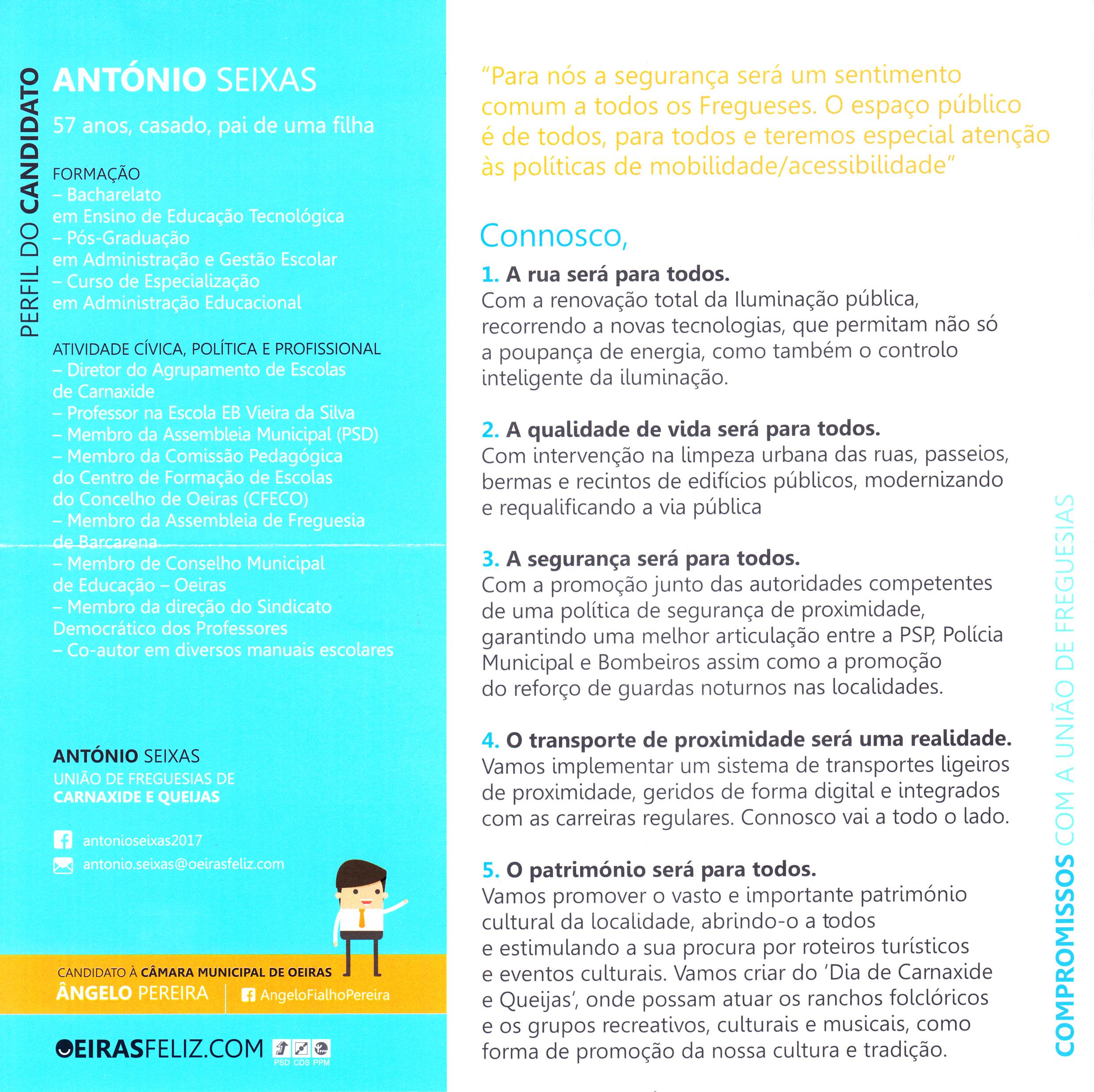 a44cf7bc8dd ELEIÇÕES AUTÁRQUICAS DE 2017 – OEIRAS – UNIÃO DE FREGUESIAS DE CARNAXIDE E  QUEIJAS – PSD + CDS + PPM – EPHEMERA – Biblioteca e arquivo de José Pacheco  ...