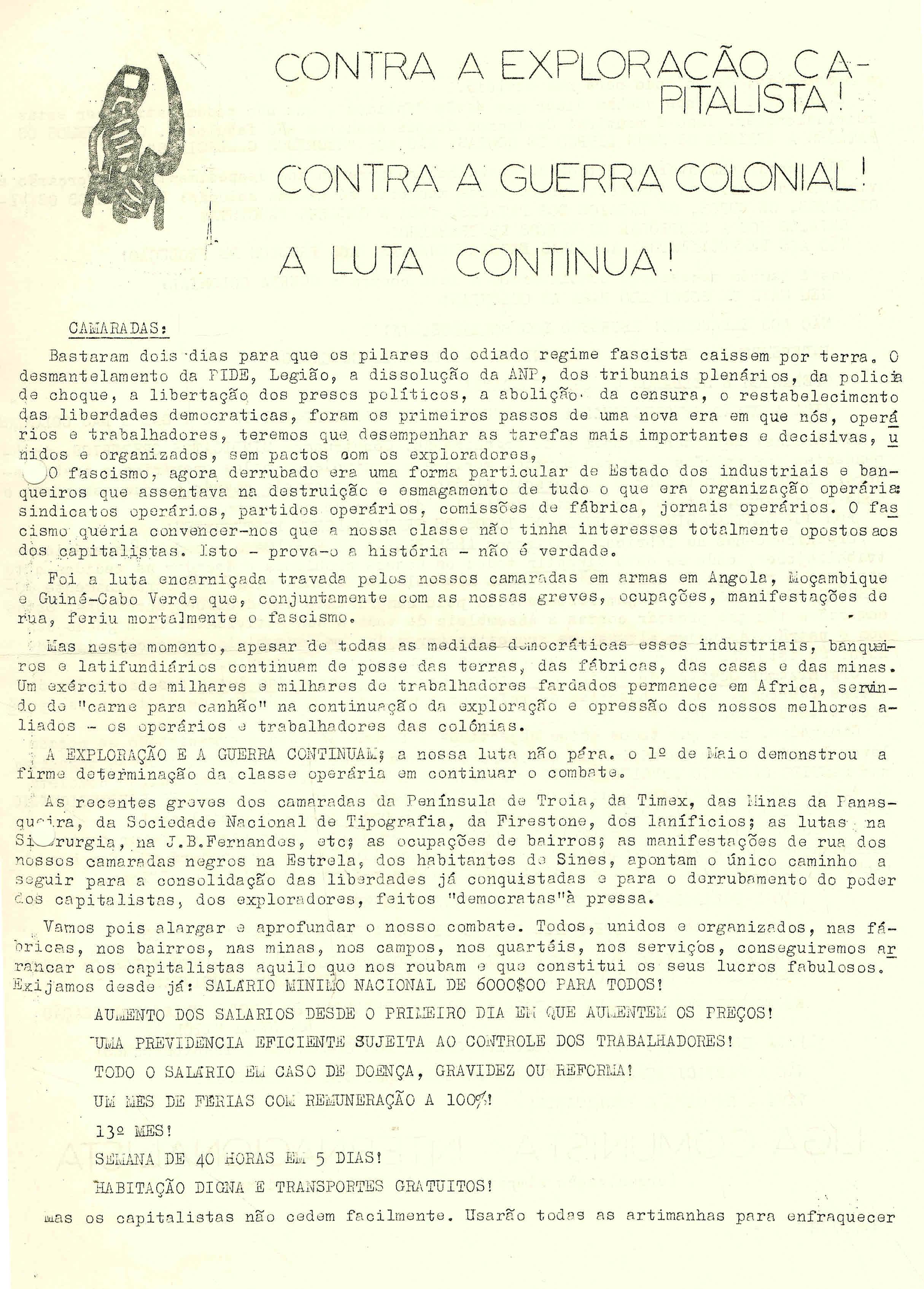 CONTRA A EXPLORACAO CAPITALISTA – LCI – 14-05-74 1