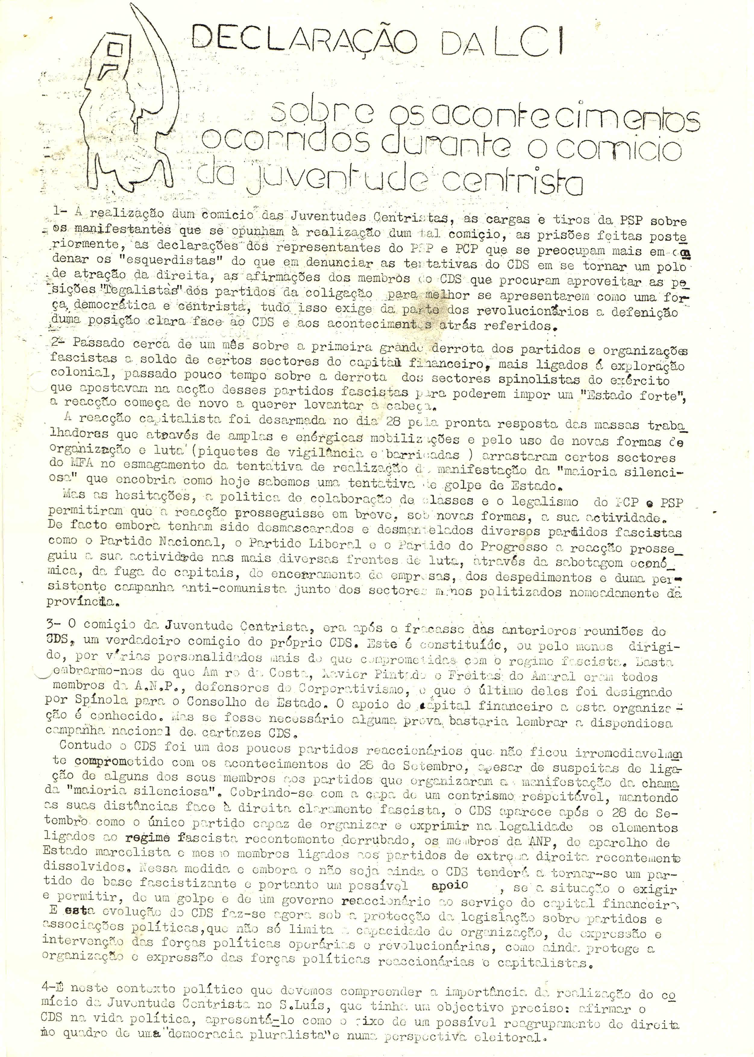 DECLARAÇÃO SOBRE COMICIO JCENTRISTA – LCI – 7-11-74 1