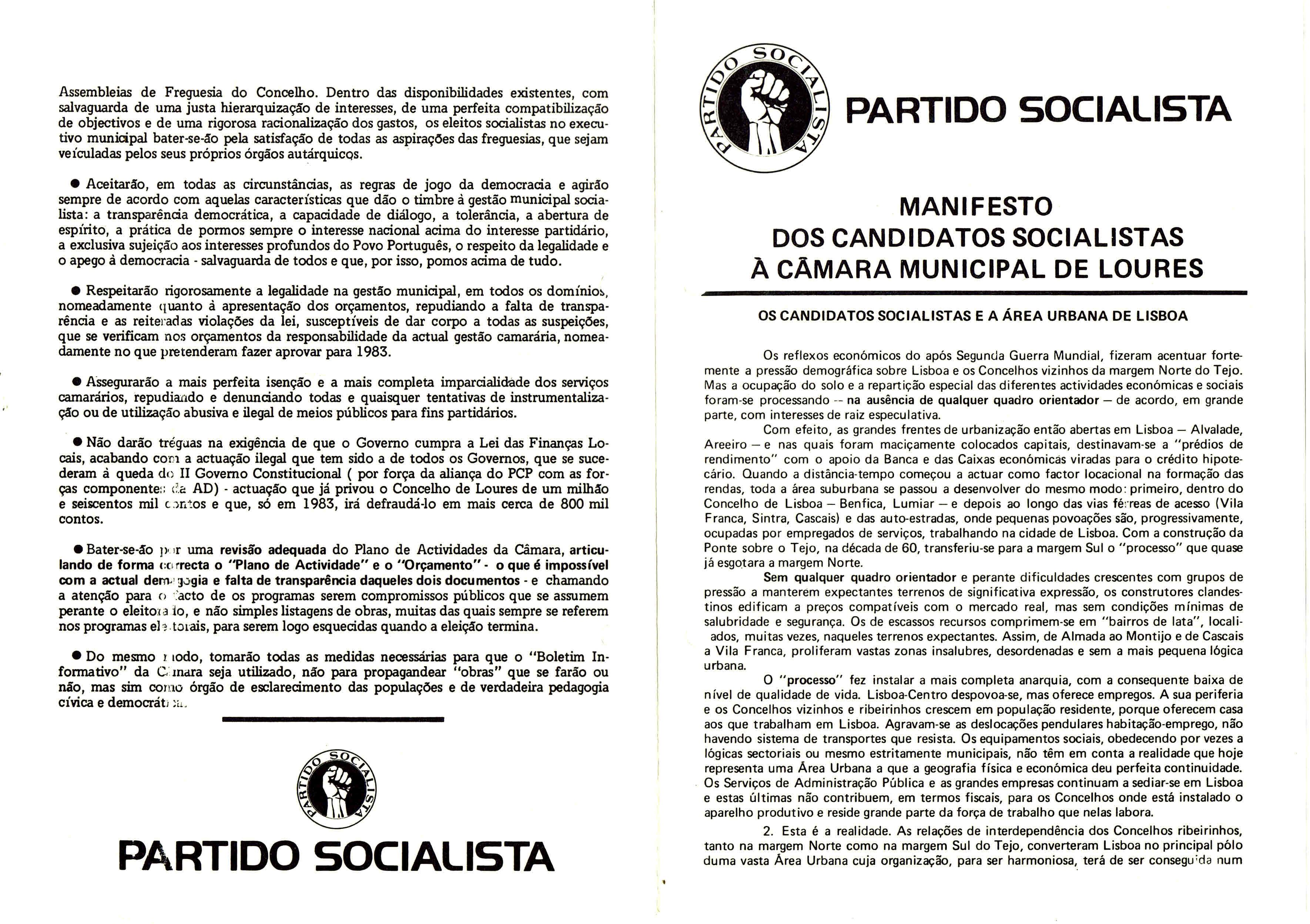 PS LOURES AUTÁRQUICAS 1982 MANIFESTO 1