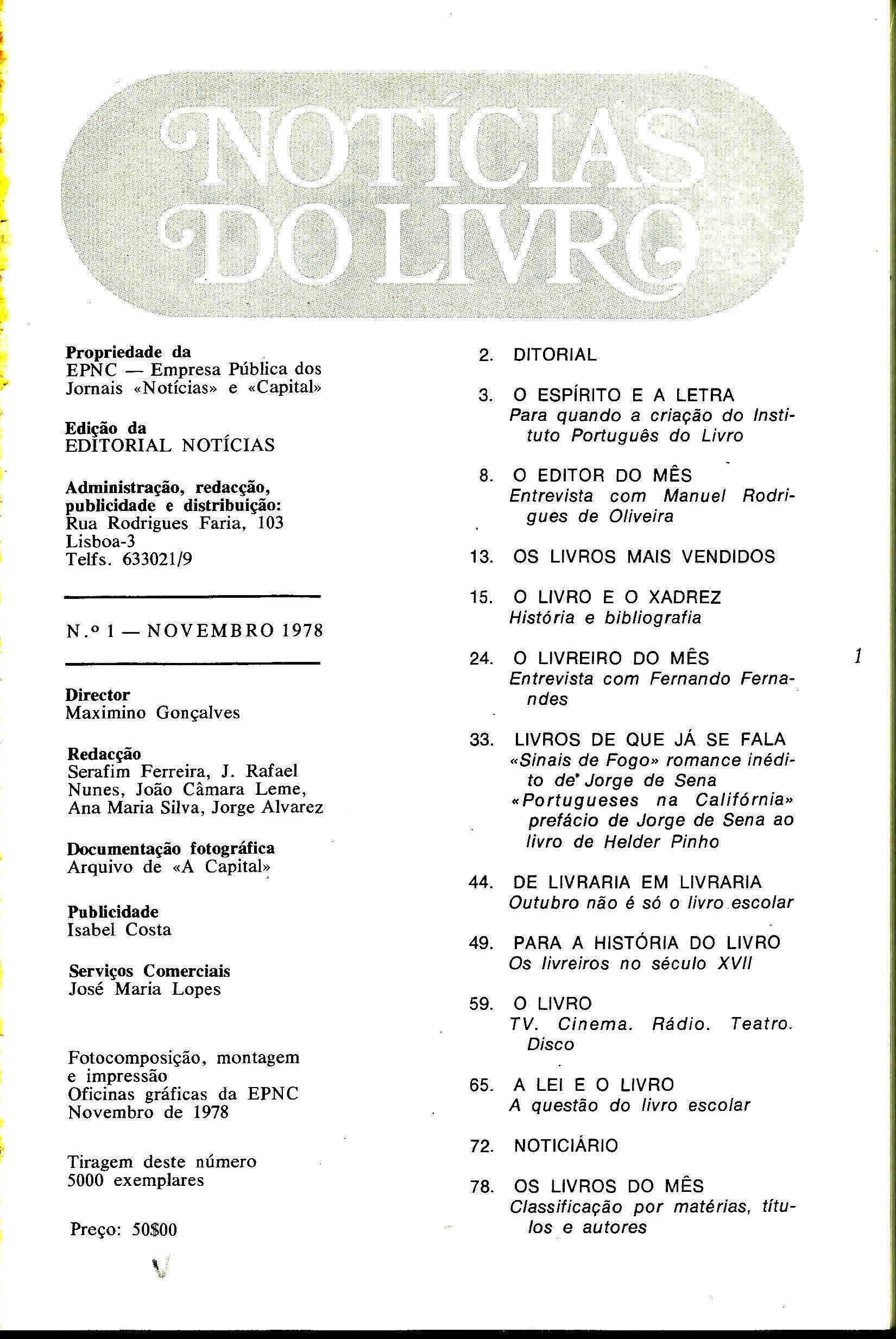 Notícias do Livro Novembro 1978 n 1 índice