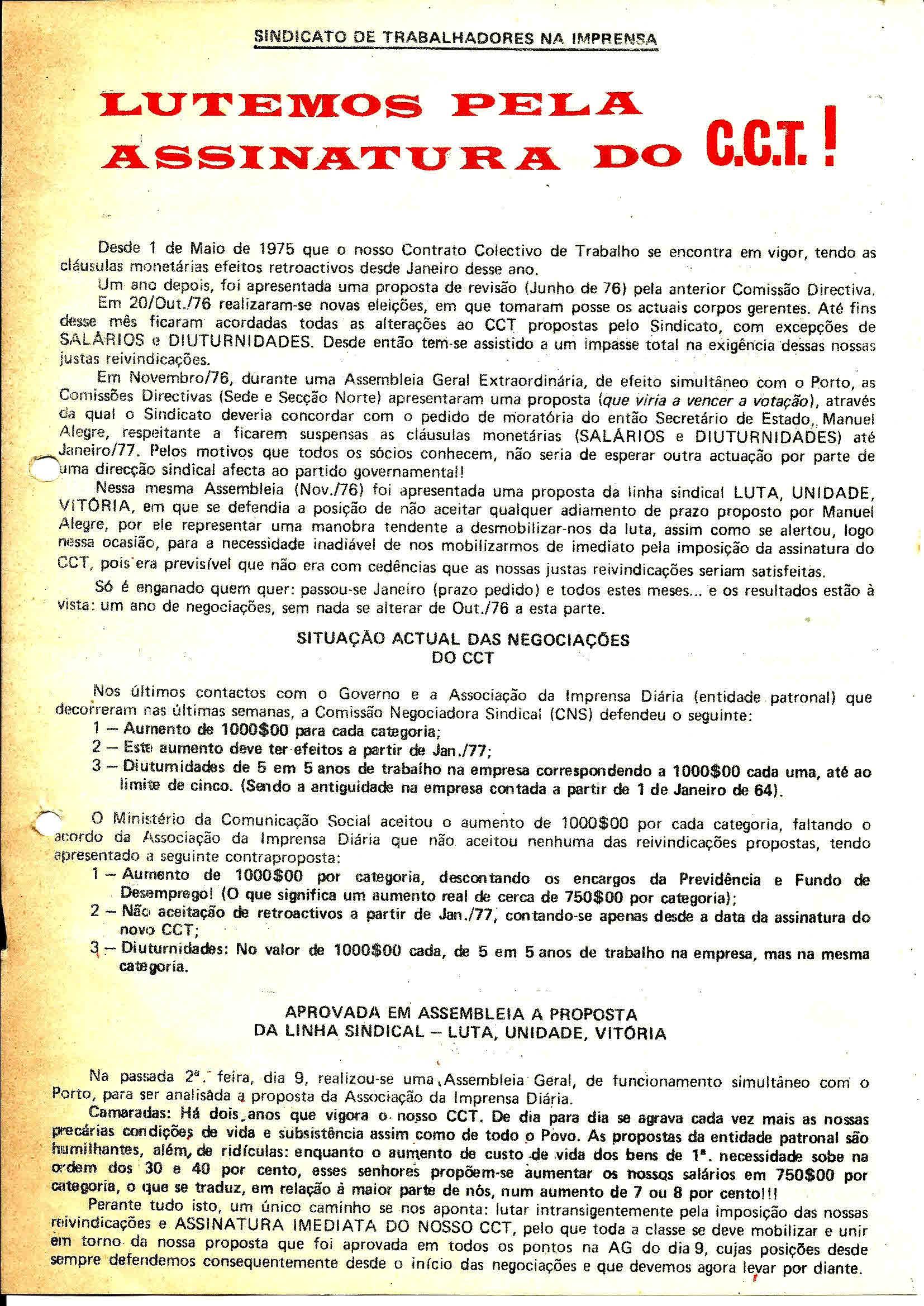 1 Sind Trab Imprensa Luta pelo CCT Maio 1977 1