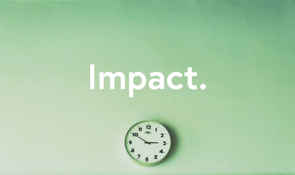 Clock with the word Impact.