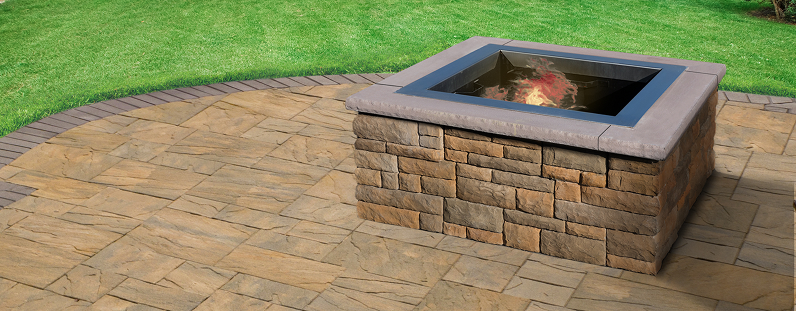 EP Henry  Cast Stone Wall Square Fire Pit Kit  EP Henry