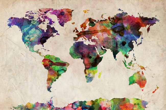 Art ~ Watercolor World Map