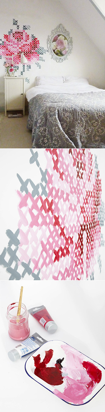 Today I Like {14/5/12} Cross-Stitch Pained Wall by Eline Pellinkhof