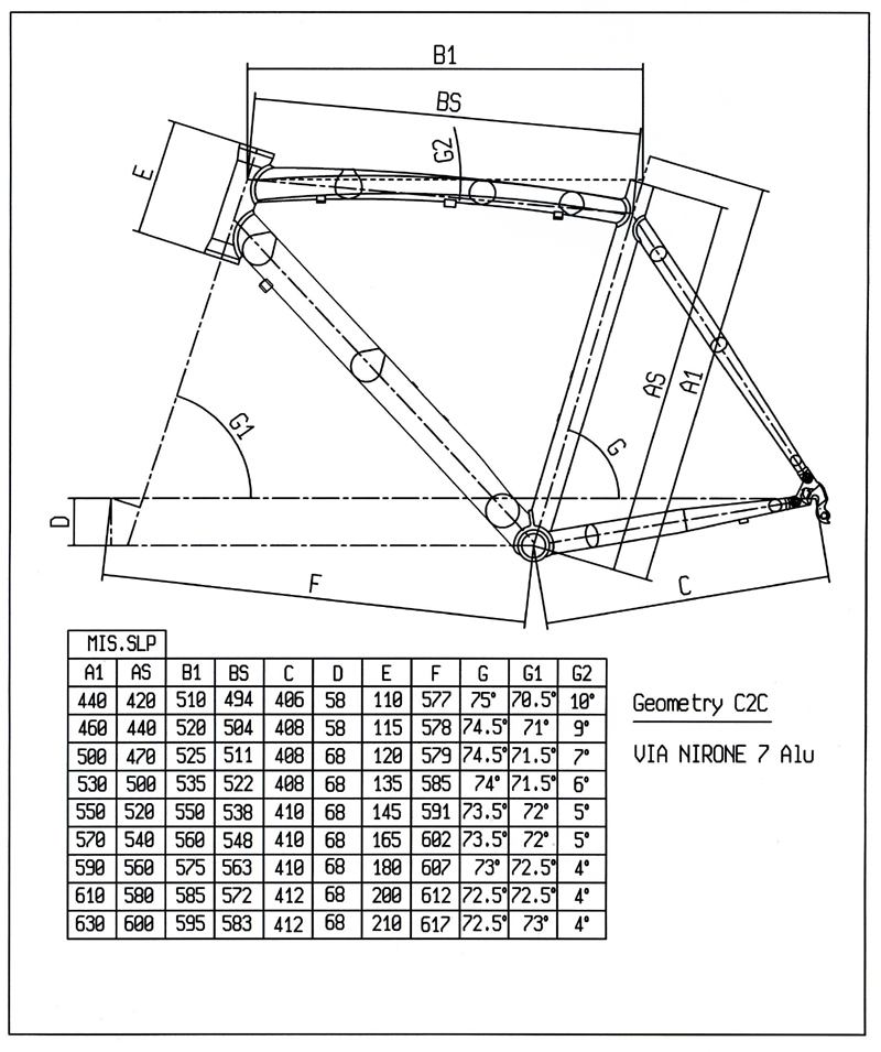 Bianchi Via Nirone 7 Frame Size Guide | Frameswalls.org