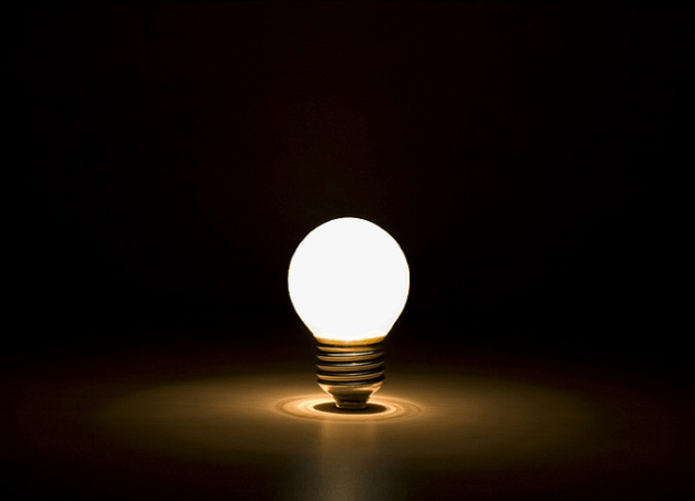 Light bulb on desk