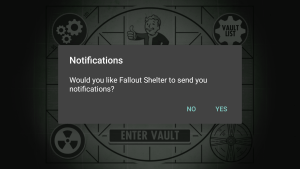 Fallout Shelter Notifications Prompt
