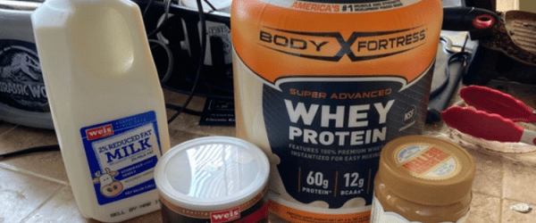 ingredients used to make a nut free protein shake with wowbutter