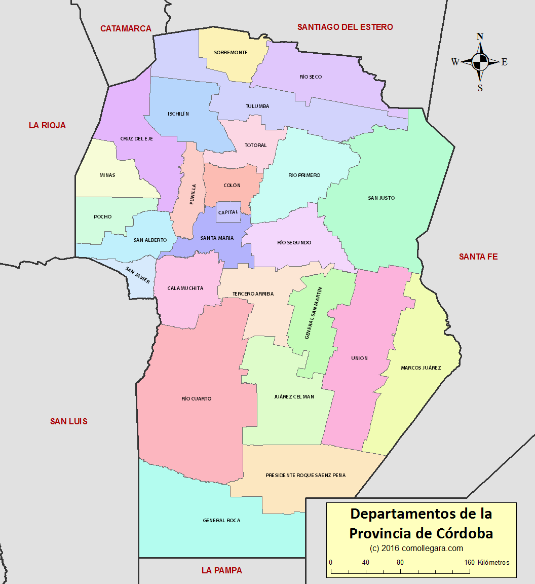 Provincia de Córdoba Argentina Departamentos División Política Mapa