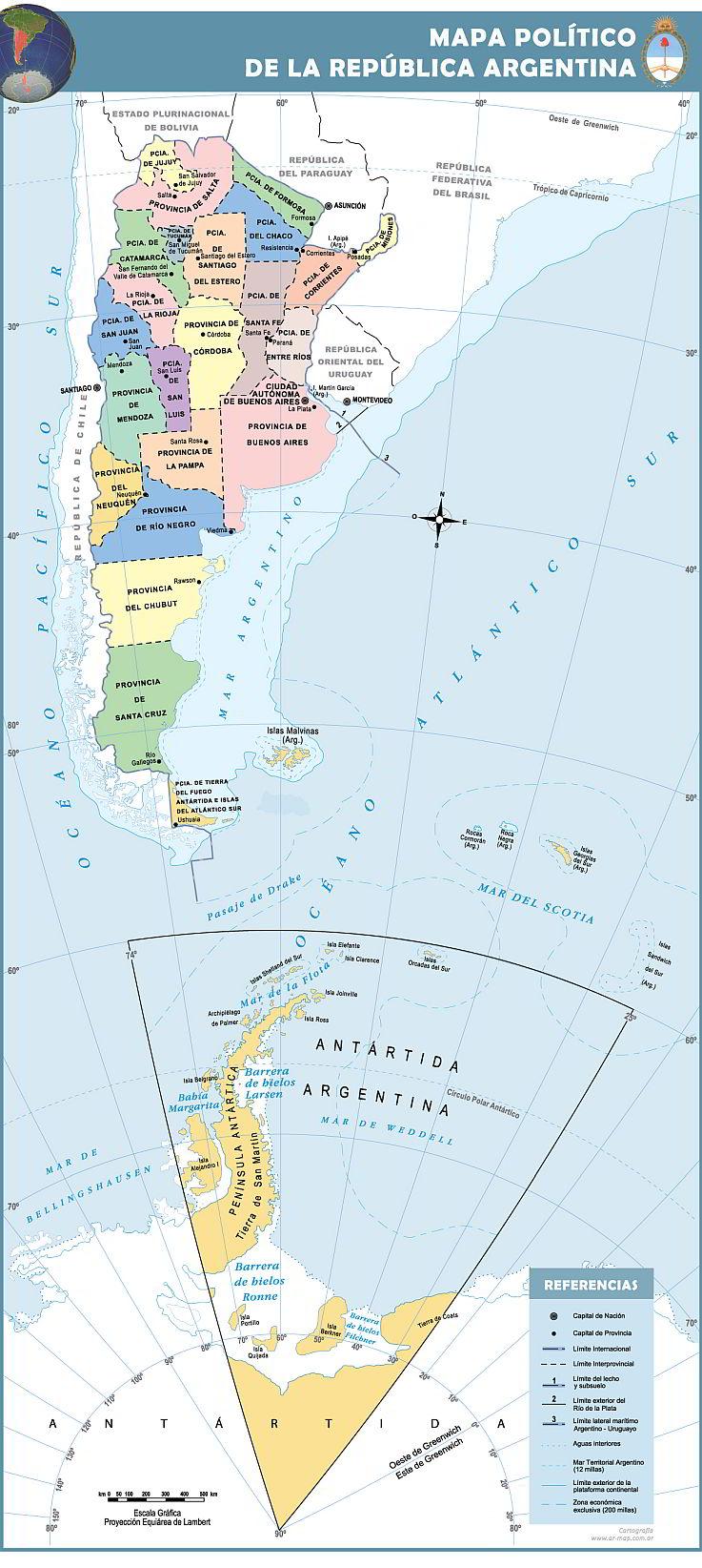 Mapa bicontinental Argentina