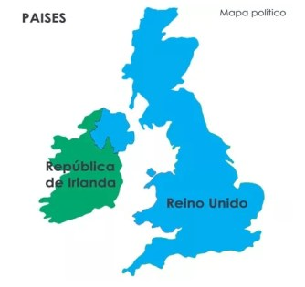 Mapa politico Republica de Irlanda y Reino Unido