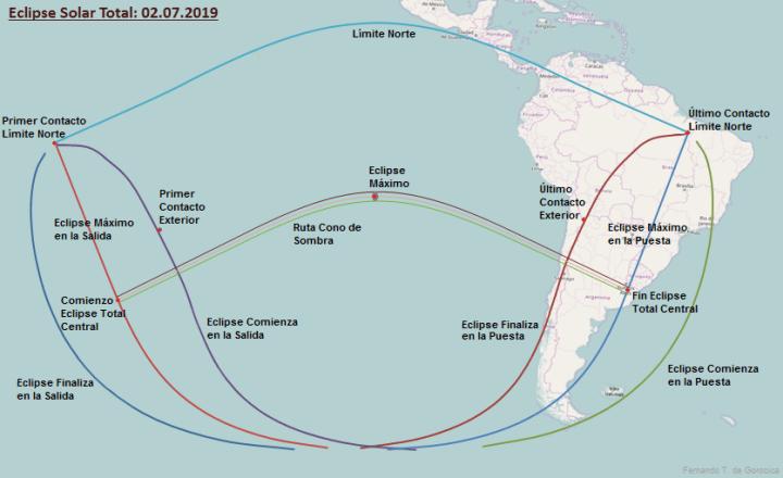 trayectoria mapa eclipse sol 2 de julio 2019