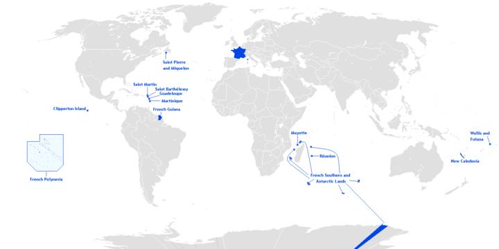 Ubicación de los espacios donde Francia posee soberanía.