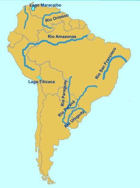 Ubicación Geográfica de los ríos de América del Sur.