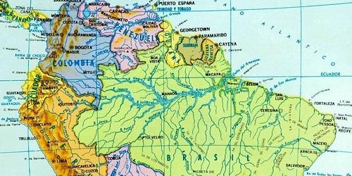 Mapa de la ubicación de uno de los Ríos mas importantes, el Amazonas.