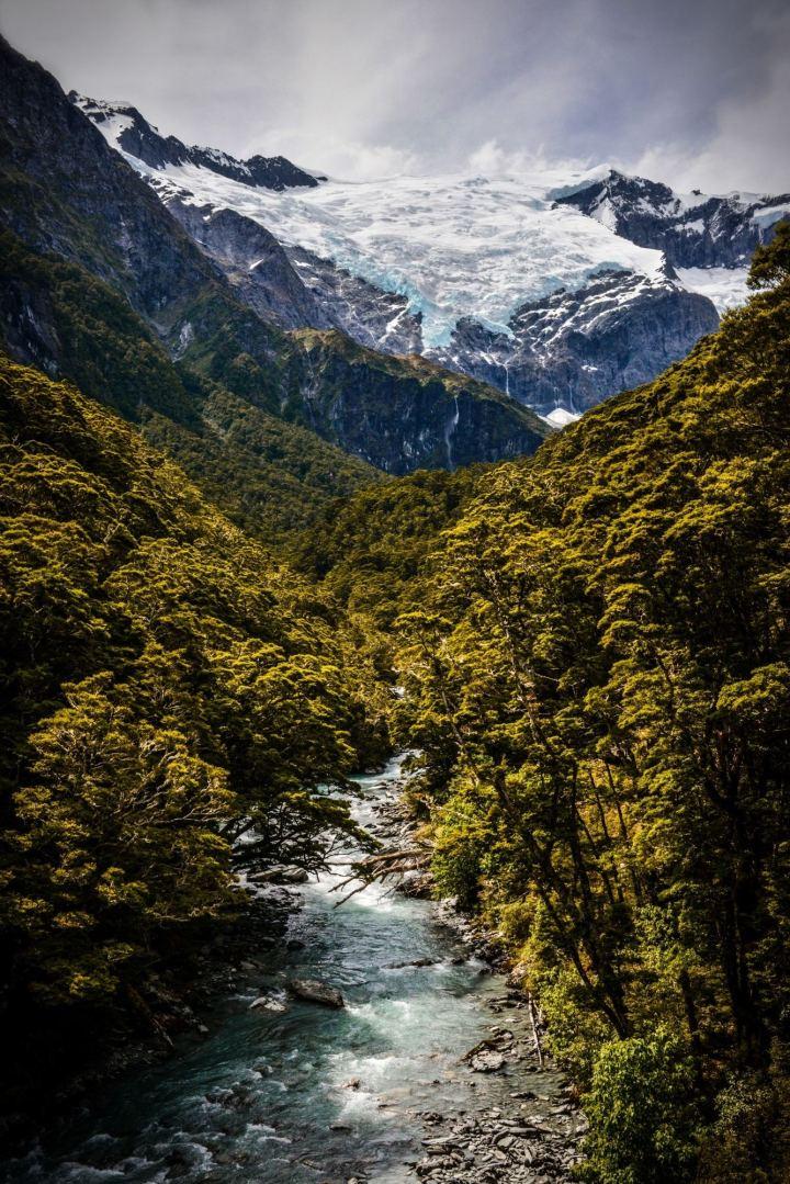 glaciares deshielo nieve montañas en nueva zelanda