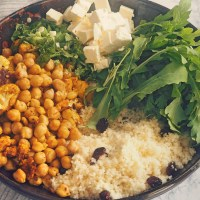 Oven Roasted Cauliflower and Chickpea Salad