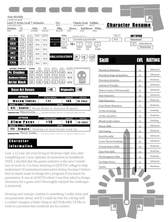 Resume Character Sheet