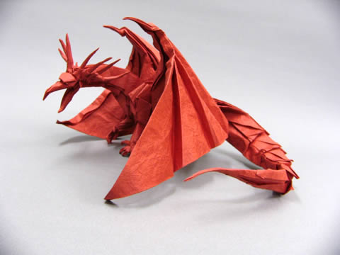 A photo of a good origami dragon.