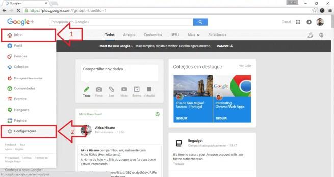 """Na interface Web, vá para as configurações do Google+ (passe o mouse sobre """"Inicio"""", em seguida, selecione """"Configurações"""")."""