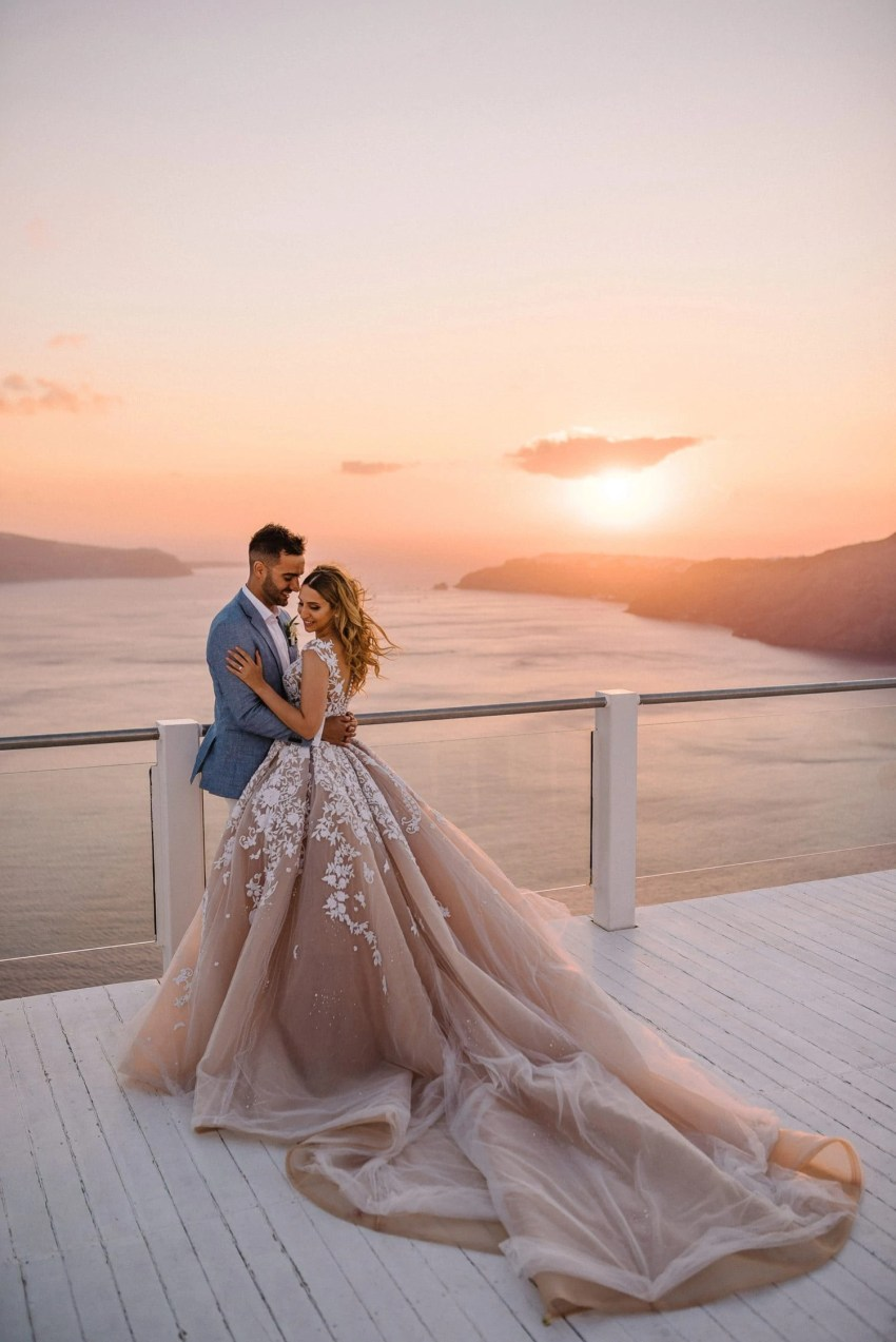 Santorini wedding photography Steven Khalil dress