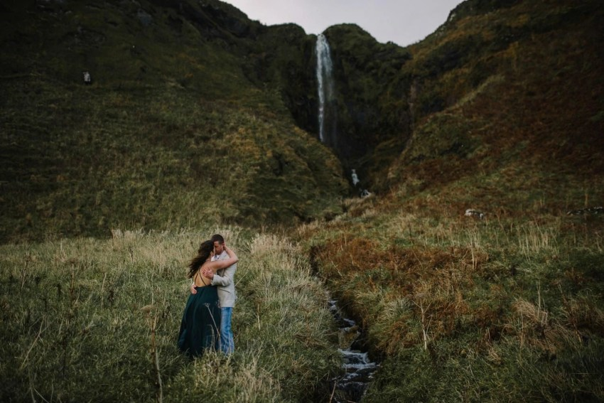 Northern Ireland waterfall engagement photos