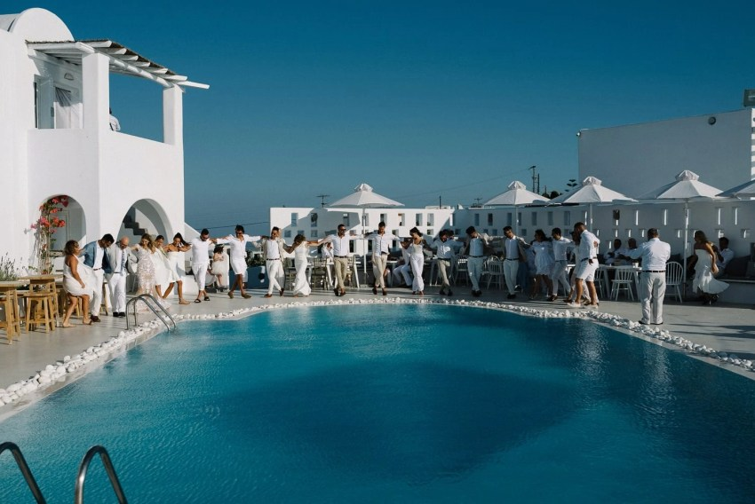 Rocabella Hotel Santorini wedding party