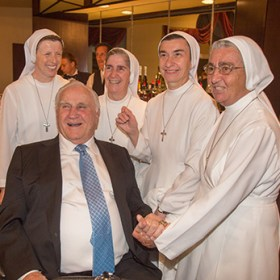 NOVEMBER 15. 2014 Marlene Quaroni/FC Sisters of St. Joseph Benedict Cottolengo (SSJC),Sister Lidia Valli, Sister Filomena Mastangelo, Sister Faustina Rondena & Sister Carla Valentini from Marian Center for the mentally-challenged pose with Coach Don Shula. St. Joseph Churchm Miami Beach honors Don and Mary Anne Shula at the church's annual gala with a Catholic high school scholarship in the Shula's name