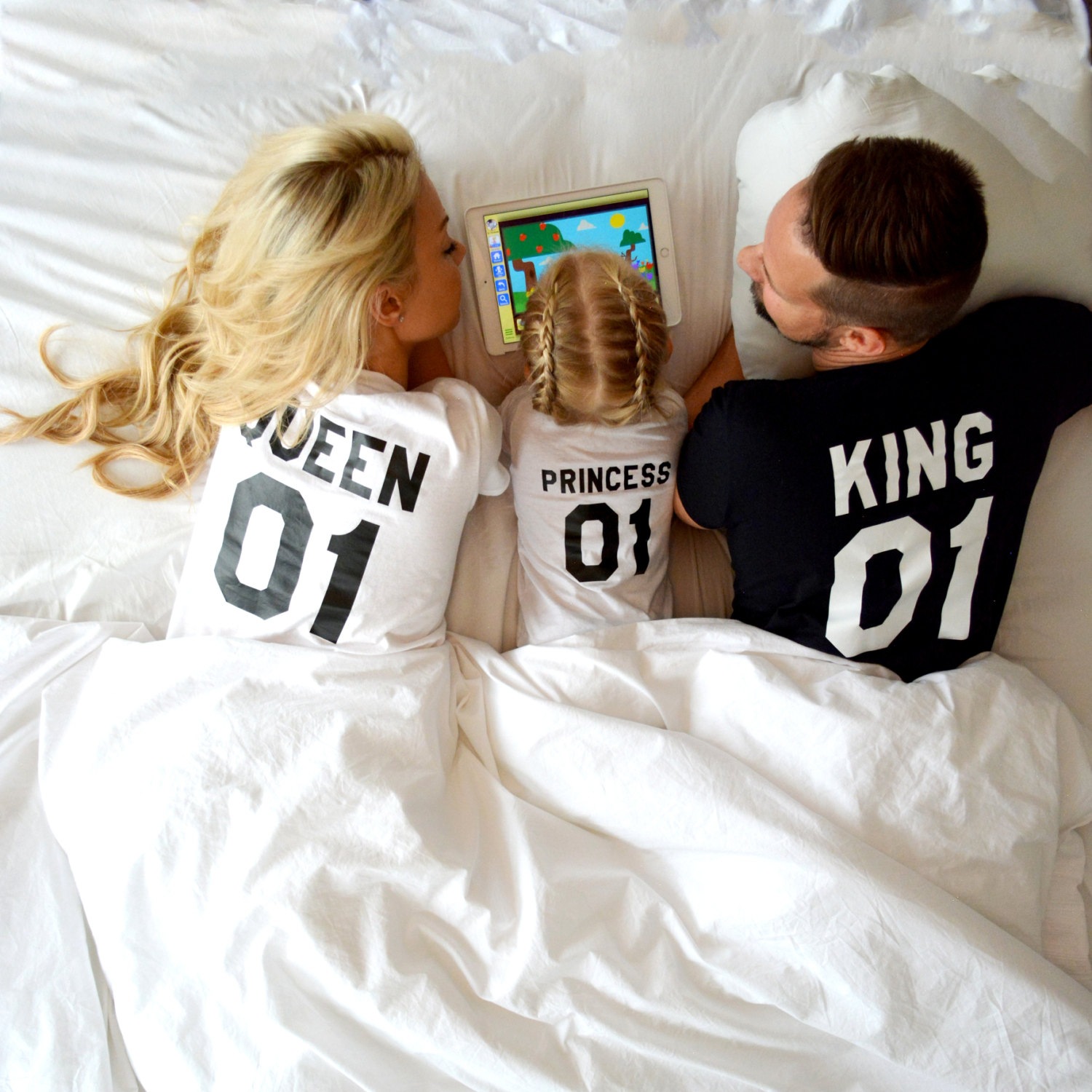King Queen Prince Matching Family Shirts Unisex
