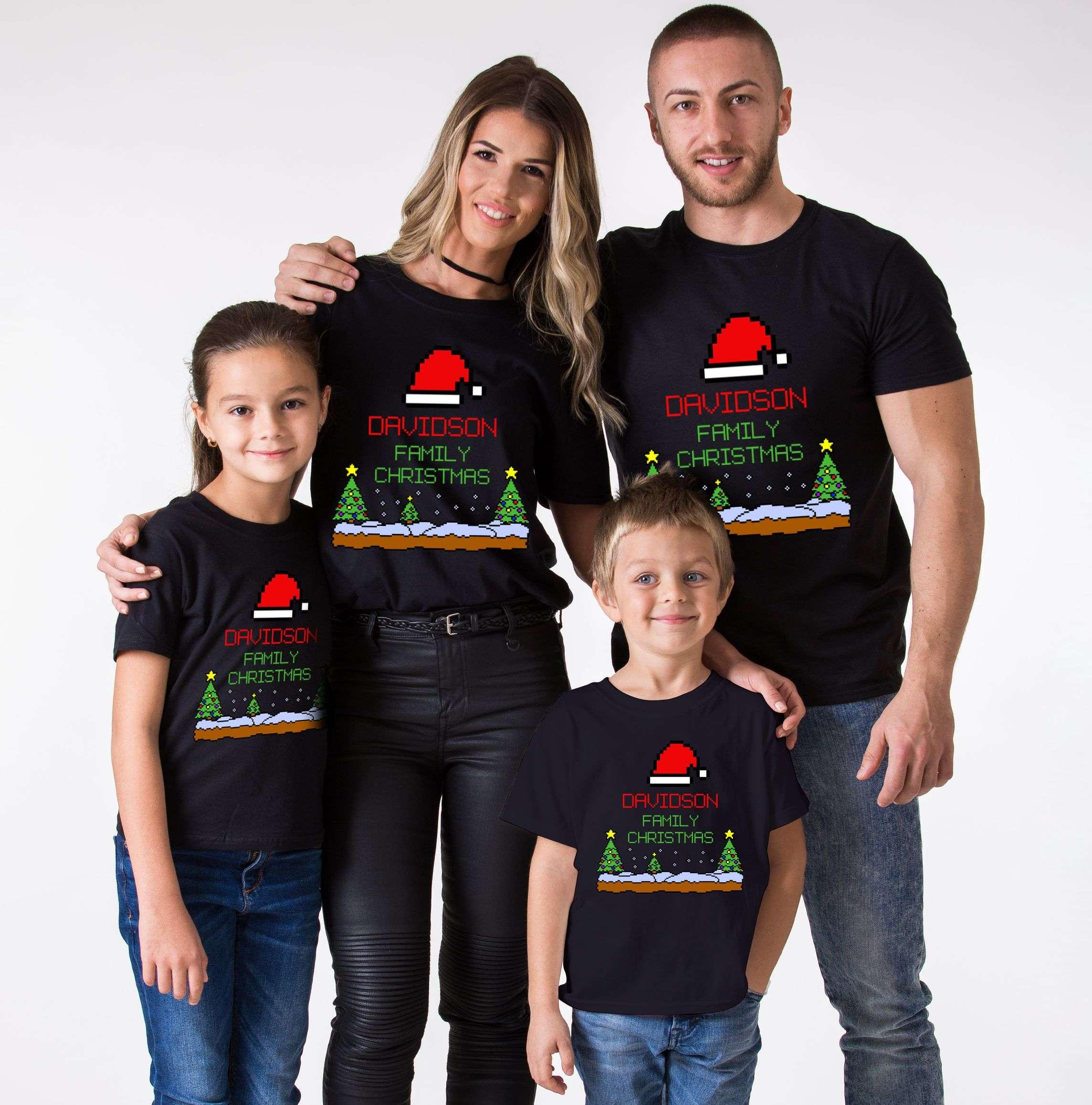 Custom Name Pixel Christmas Shirt Christmas Family