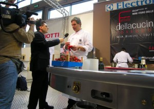 "Leemann interviewed by Bruno Gambacorta, producer of RAI 2's program: ""Eat Parade"""