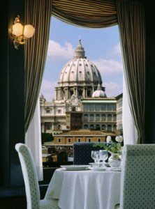 view of St. Peter's from Les Etoiles restaurant at Hotel Atlante Star