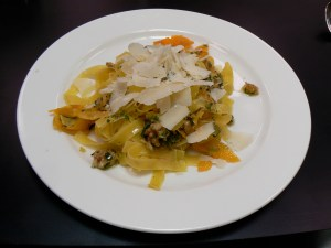Chef Franco Taruschio's Tagliatelli and Squash at the Chef's Room Fish & Cookery School in Blaenavon, Wales