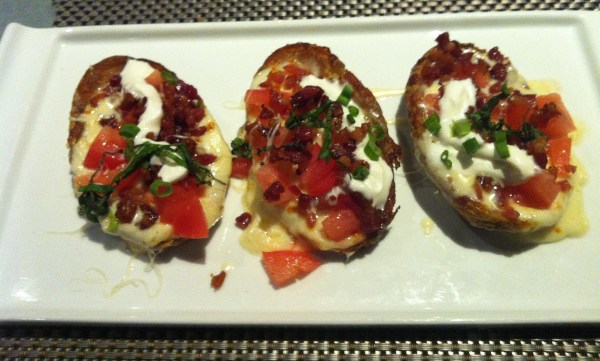 Delicious potato skins appetizer.